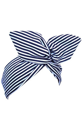Navy and White Striped Nautical Wired Headband by LULU IN THE SKY