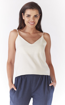 V neck cami top in cream by AWAMA