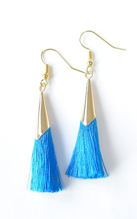 Cobalt Blue & Gold Tassel Earrings by Kate Canning Jewellery