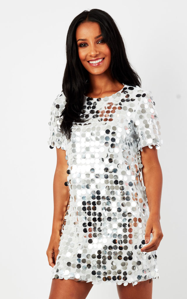 7fde22037733 Silver Disk Sequin T Shirt Dress | Phoenix + Feather | SilkFred