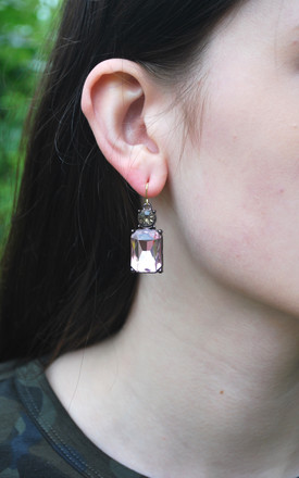 Simple Gem Earring in Pink with Taupe by LAST TRUE ANGEL