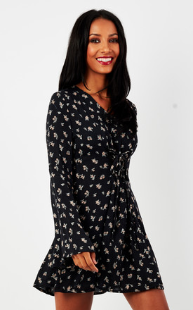 Navy Ditsy Bell Sleeve Dress by Glamorous