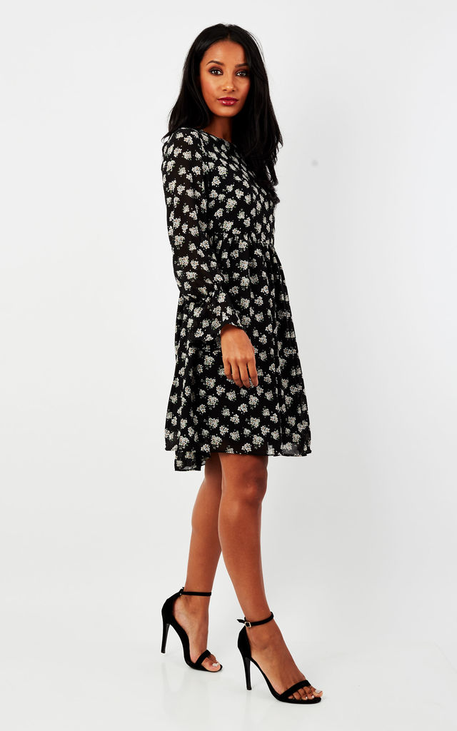 Black Blossom Ditsy Bell Sleeve by Glamorous