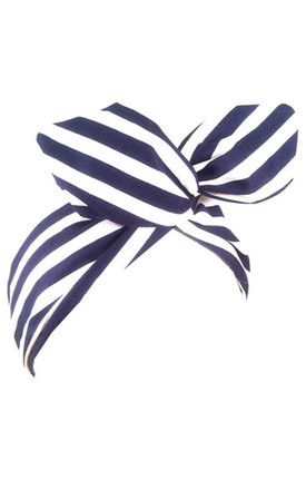 Navy Blue And White Stripe Wired Headband by LULU IN THE SKY