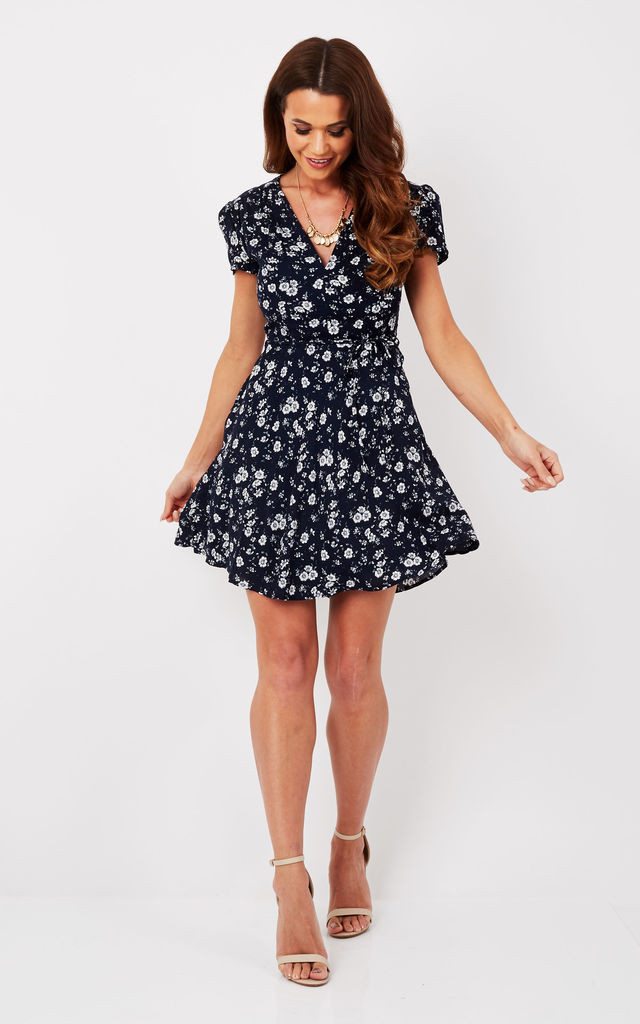 92f86aa1bad2 Short Sleeve Navy Buttercup V Neck Dress | Glamorous | SilkFred