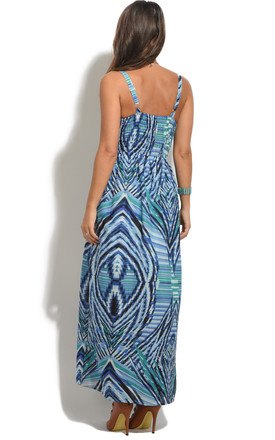 Ladies Full Length Summer Holiday Maxi Dress in Blue by Looking Glam