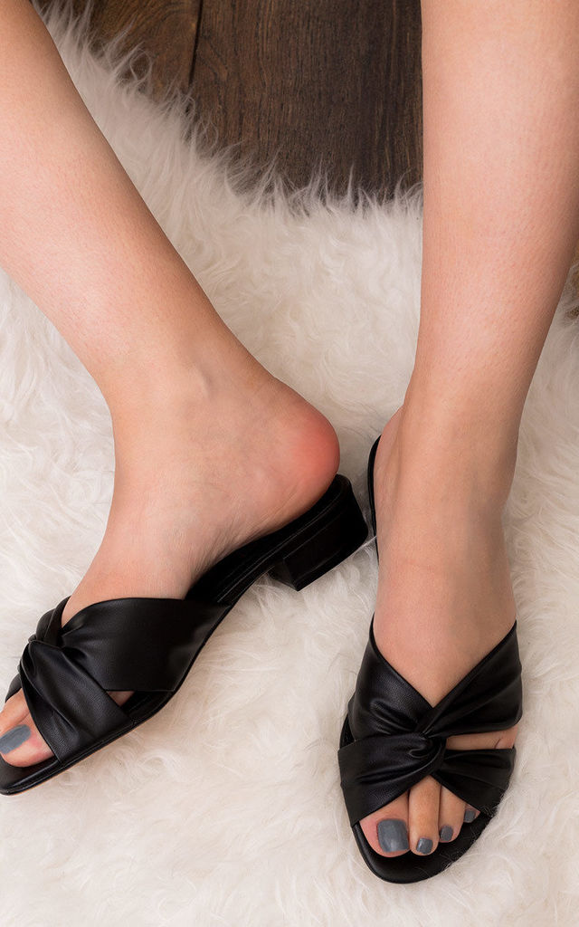 Ann Wide Fit Mid Heel Sandals Shoes - Black Leather Style by SpyLoveBuy