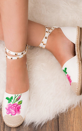 Beatrice Adjustable Buckle Flat Strappy Embroidery Sandals Shoes - White Leather Style by SpyLoveBuy