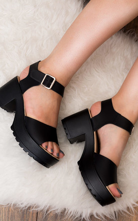 AKIRA Chunky Platform Block Heel Sandals Shoes - Black Leather Style by SpyLoveBuy