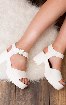 AKIRA Chunky Platform Block Heel Sandals Shoes - White Leather Style by SpyLoveBuy