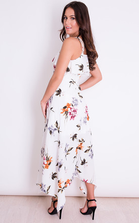 Evie Floral Print Cami Midi Dress White by Girl In Mind