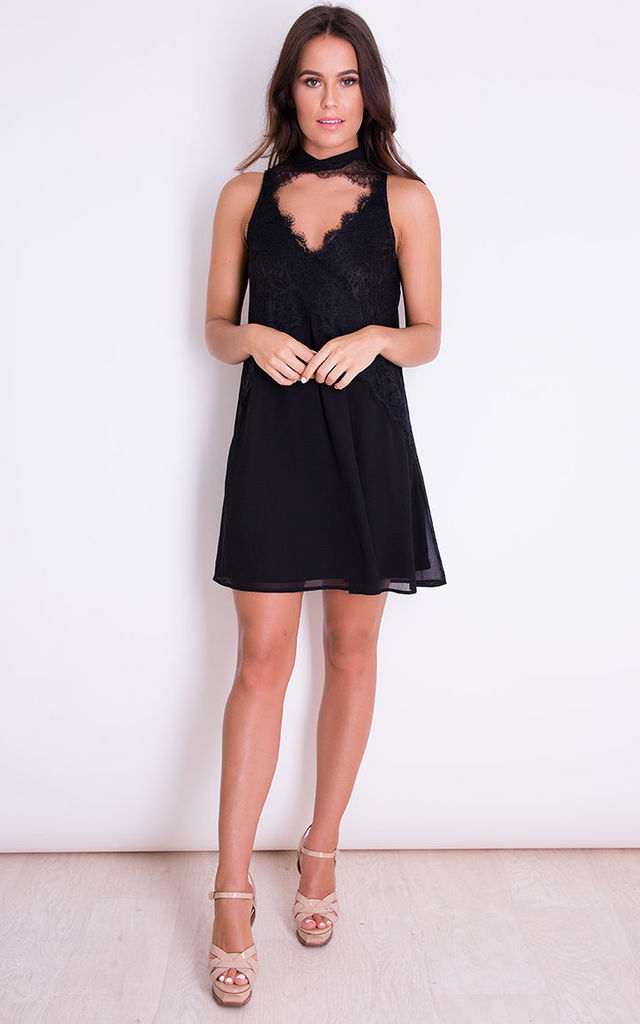 Christina High Neck Lace Front Swing Dress Black by Girl In Mind