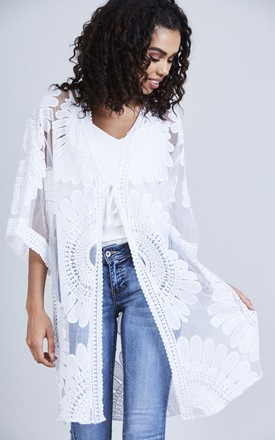 White Sheer Embroidered Kimono by Black Lilly