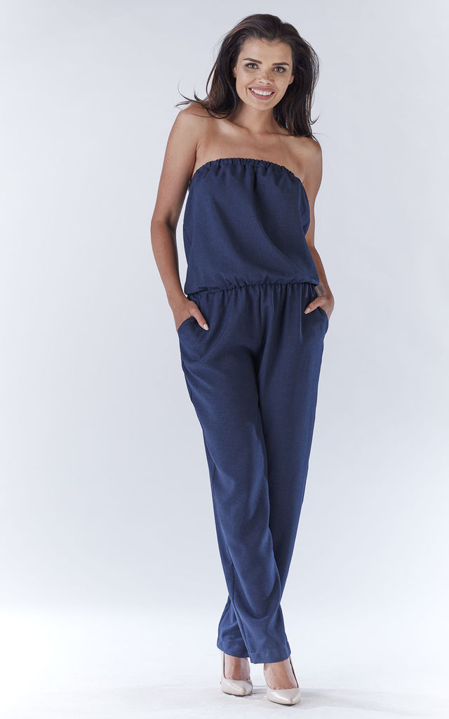 Navy Sexy Jumpsuit With Straight Legs by AWAMA