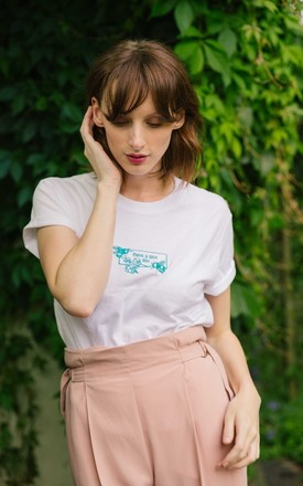 Embroidered Have a nice day bee white t-shirt by Emma Warren