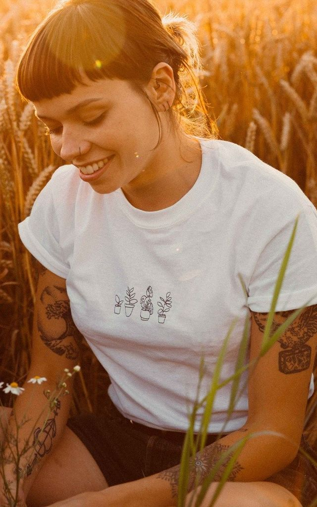 Embroidered plant lovers white tee by Emma Warren