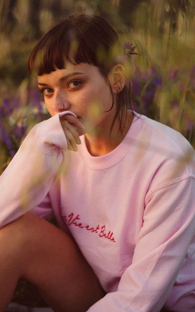 Embroidered la vie est belle slogan pink sweater with heart by Emma Warren