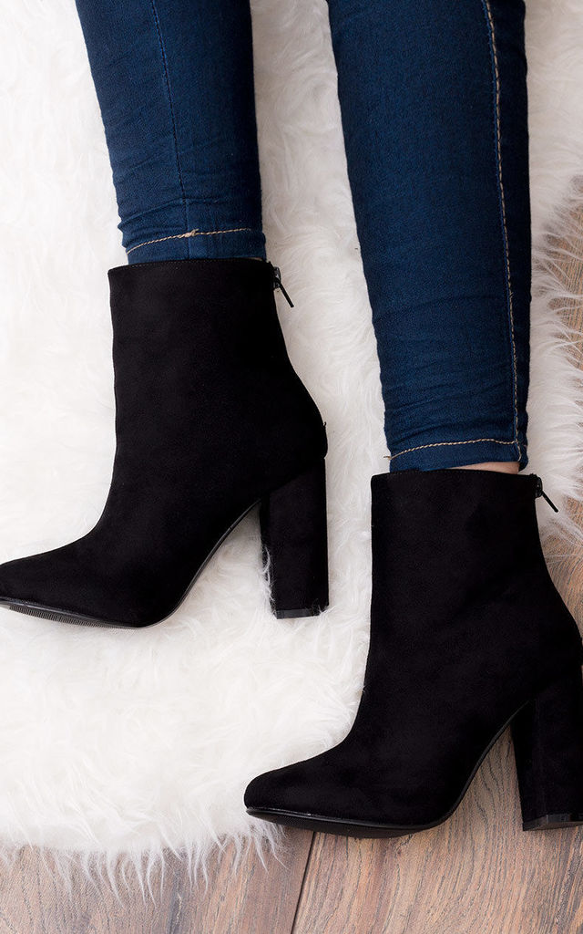 DAIZE Zip Block Heel Ankle Boots Shoes - Black Suede Style by SpyLoveBuy