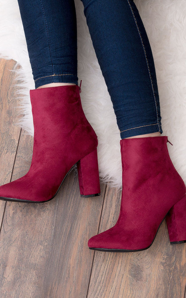 DAIZE Zip Block Heel Ankle Boots Shoes - Cranberry Suede Style by SpyLoveBuy