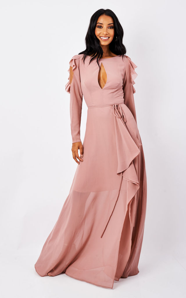 Pink Cold Shoulder Ruffle Detail and Tie Belt Dress by True Decadence