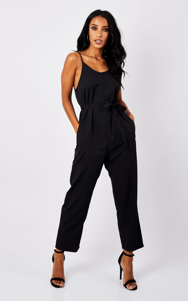 Strappy Jumpsuit Relaxed Romper Black by likemary