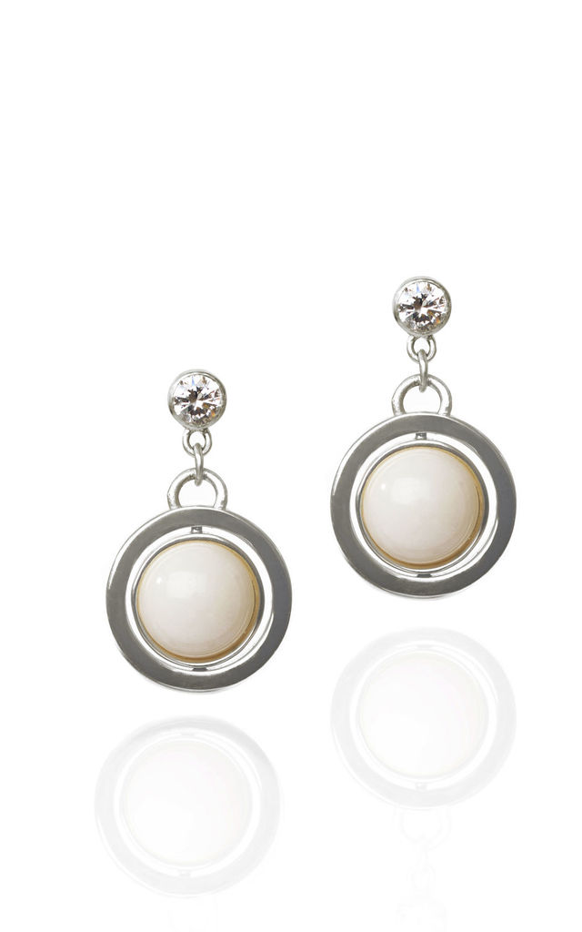 Mountain Jade Natural White Desire Spinning Earrings by Louise McLeod Jewellery