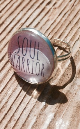 """Soul Warrior"" slogan statement Ring in silver and pink by Soul Warriors"