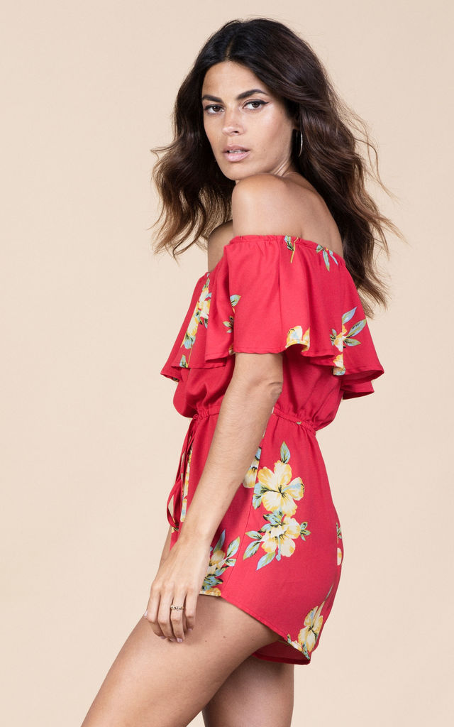 Zola Playsuit in Hibiscus image