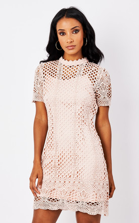 Pink High Neck Lace Dress by True Decadence Product photo