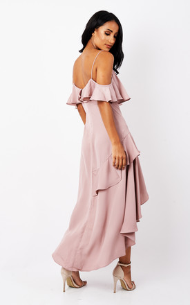 COLD SHOULDER RUFFLE TWIST DRESS by True Decadence