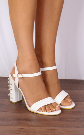White Pearl Barely There Strappy Sandals Peep Toes High Heels by Shoe Closet