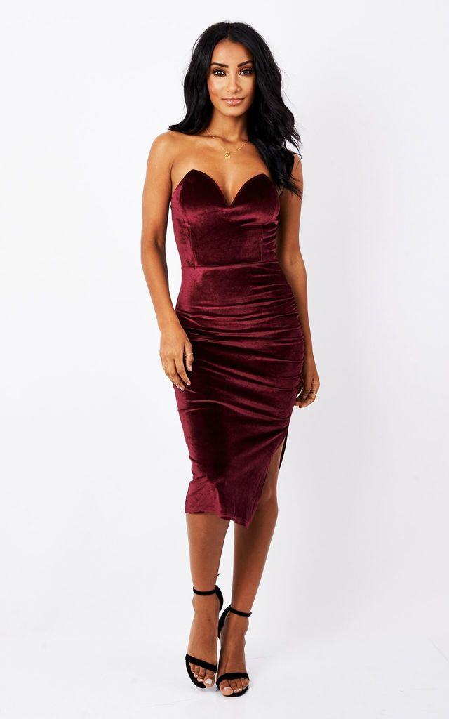 RED VELVET CRUSH MIDI DRESS by MAIWOOD Boutique