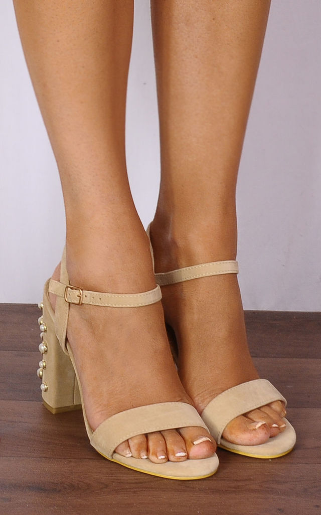 286049113ce7 Nude Pearl Barely There Strappy Sandals Peep Toes High Heels by Shoe Closet