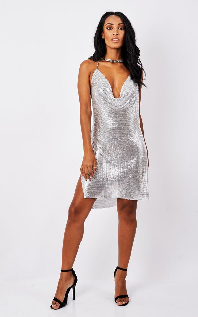 Silver Slinky Chain Dress by MAIWOOD Boutique