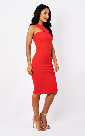 Red one shoulder dress by Phoenix & Feather