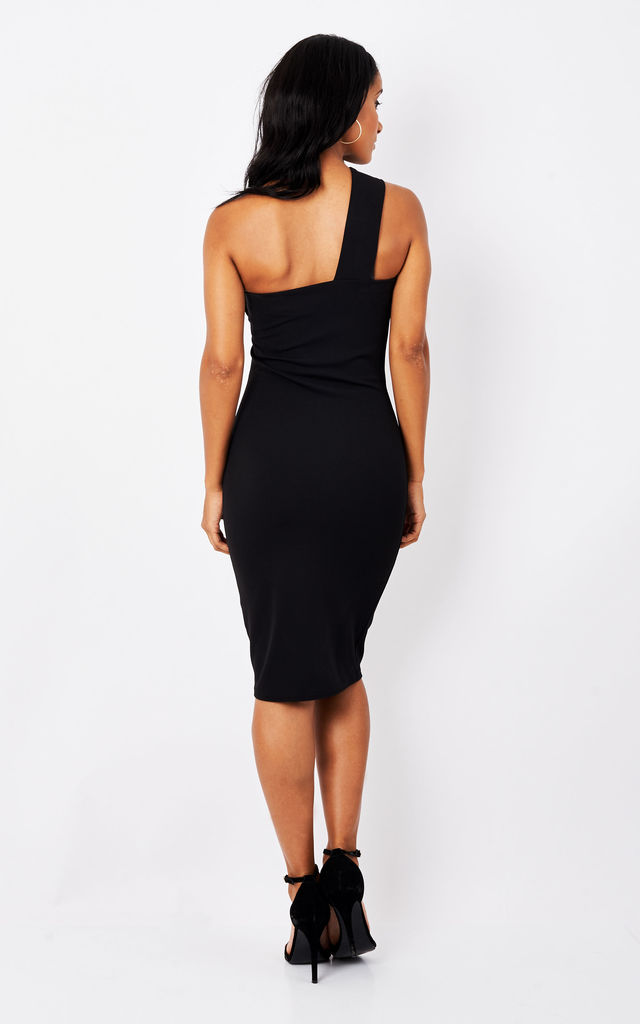Black one shoulder dress by Phoenix & Feather