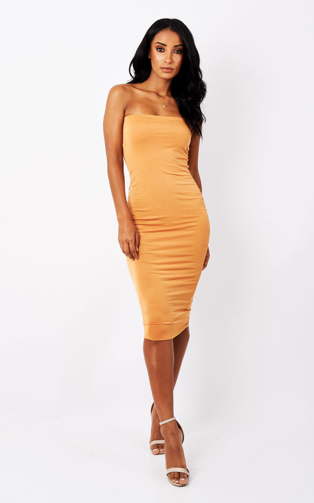 434d55818c5 Mustard Lexi Strapless Midi Dress | Pleat Boutique | SilkFred