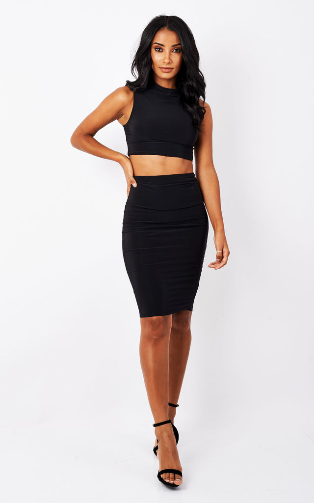 Black Perry Co-ord Crop Top by Pleat Boutique