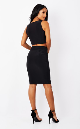 Black Perry High Waisted Co-ord Skirt by Pleat Boutique