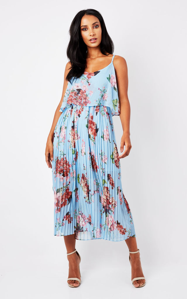 Blue Floral Print Pleated Cami Midi Dress by URBAN TOUCH