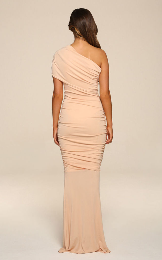 Alice Blush Pink Maxi Dress With Fishtail by Honor Gold