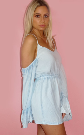 Cut Out Shoulder Denim Playsuit by Sade Farrell