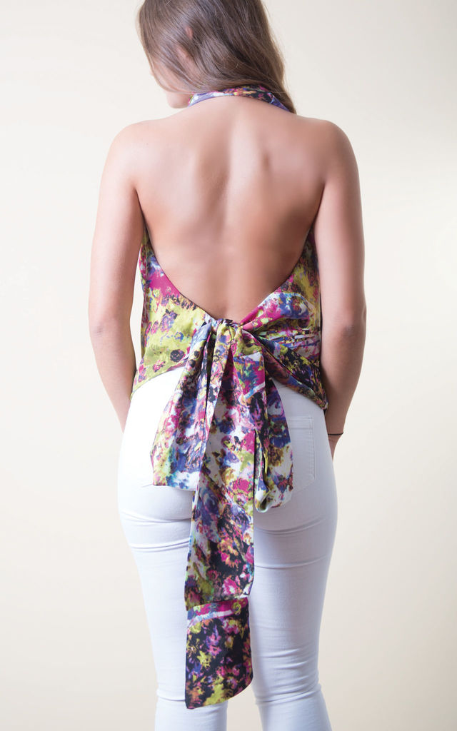 Drape Halterneck Backless Top Print by Lily Rose Boho