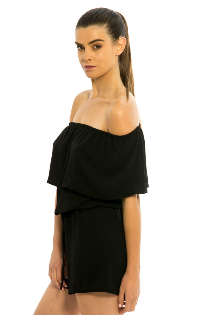 Off Shoulder Frill Playsuit - Black by Npire London
