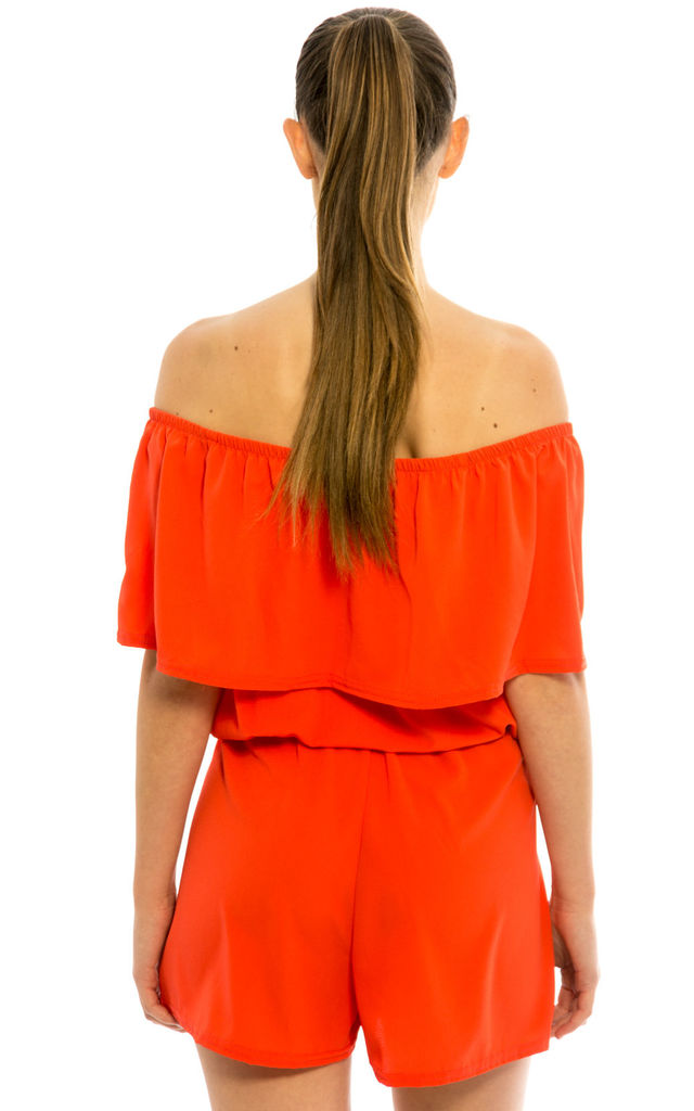 Off Shoulder Frill Playsuit – Orange by Npire London