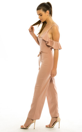 Off Shoulder Frill Plunge Jumpsuit - Blush Pink by Npire London