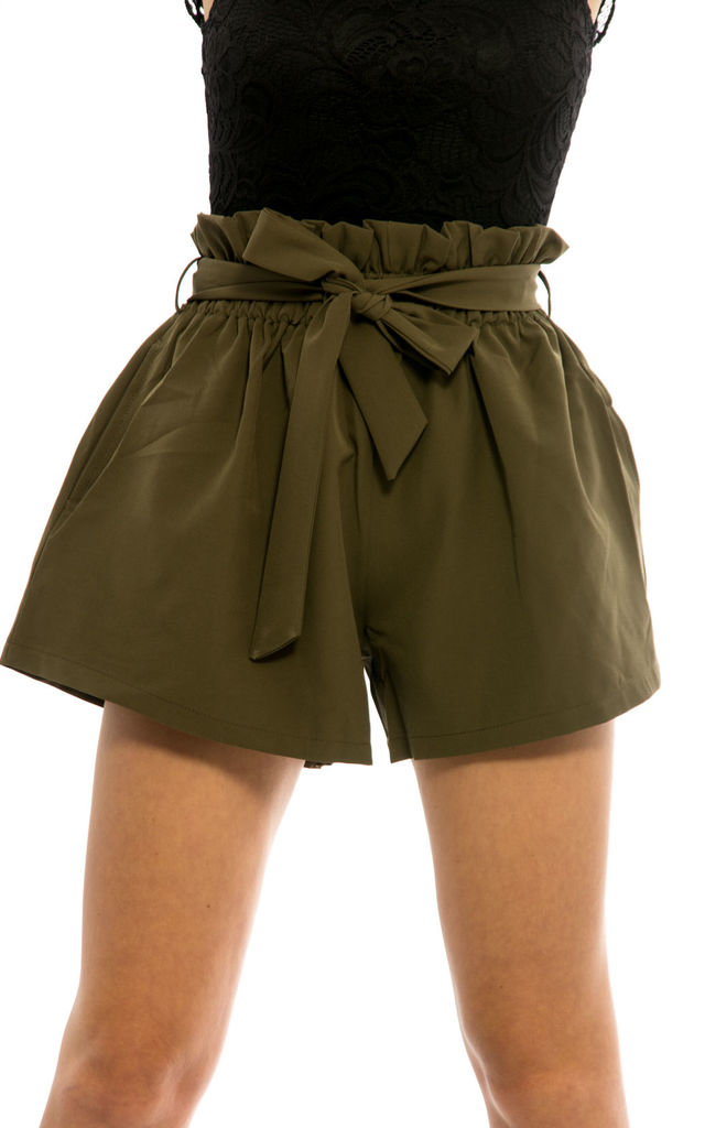 Front Tie Elasticated Hot Pants -Khaki by Npire London