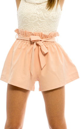 Front Tie Elasticated Hot Pants – Pink by Npire London