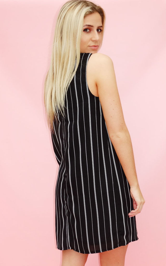 Black And White Pinstripe Choker T-shirt Dress by Sade Farrell