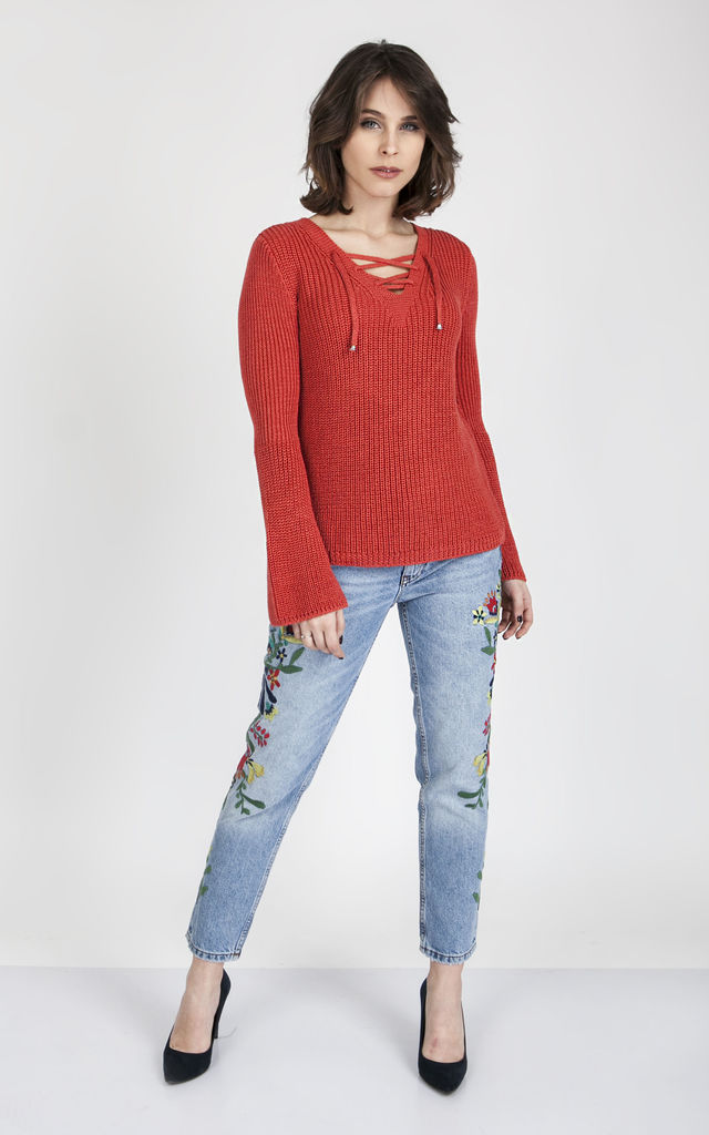 Boho-style sweater - coral by MKM Knitwear Design